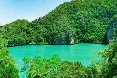 Sjö för medborgareAng Thong Marine Park gräsplan Royaltyfri Foto