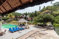 Sjö Front Five Star Villa i den Samosir ön Royaltyfri Fotografi
