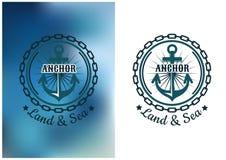 Sjö- heraldiskt emblem med ankar- och rundakedjan stock illustrationer