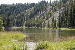 Sjö i den alaskabo vildmarken Arkivfoton