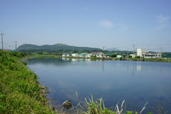 Sjö i Jeju Arkivfoto