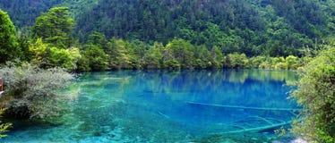 Sjö i jiuzhaigounationalparken, Sichuan, porslin royaltyfri foto