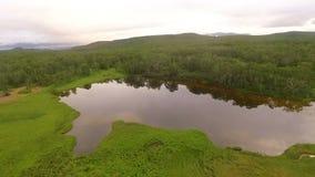 Sjö i Kamchatka copter stock video