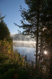 Sjö i nedgångskogen, Kanada arkivfoton