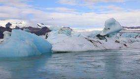 Is- sjö Jokulsarlon, Island arkivfilmer