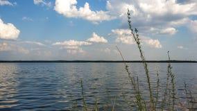 Sjö, klar himmel och moln foto russia f?r h?stskognatur solig dag fotografering för bildbyråer
