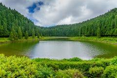 Sjö Lagoa das Empadadas i portugis som omges av grön för royaltyfri bild