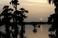 Sjö Martin Louisiana Sunset för tidig afton royaltyfria bilder