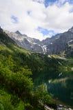 Sjö Morskie Oko på den Tatra nationalparken Arkivfoto