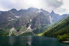 Sjö Morskie Oko på den Tatra nationalparken Arkivbilder