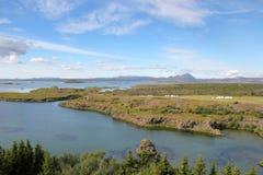 Sjö Myvatn i Island. Fotografering för Bildbyråer