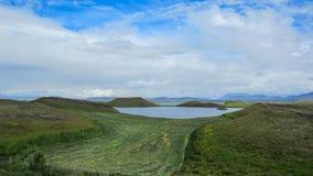 Sjö Myvatn med gröna pseudocraters och öar på Skutustadagigar, Diamond Circle, i nord av Island, Europa arkivfoton