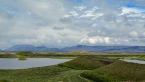 Sjö Myvatn med gröna pseudocraters och öar på Skutustadagigar, Diamond Circle, i nord av Island, Europa royaltyfria bilder