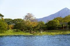 Sjö Nicaragua på en bakgrund en aktiv vulkan Concepcion Fotografering för Bildbyråer