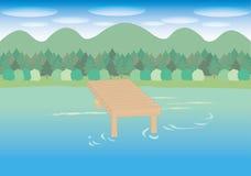 Sjö- och bryggabild stock illustrationer