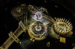 Sjö och fartyg i den salta minen Turda, Cluj, Rumänien arkivbild