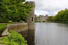 Sjö och trädgårdar i irländsk slott av Johnstown Royaltyfri Bild
