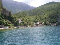 Sjö Ohrid i Makedonien arkivbild