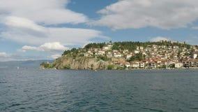 Sjö Ohrid och stad lager videofilmer