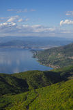 Sjö Ohrid, wiew från det Galicica berget Royaltyfria Foton