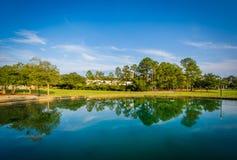 Sjö på Finlay Park, i Columbia, South Carolina Royaltyfri Bild
