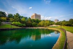 Sjö på Finlay Park, i Columbia, South Carolina Royaltyfria Foton