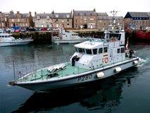 Sjö- patrullhantverk för HMS Dasher arkivbild