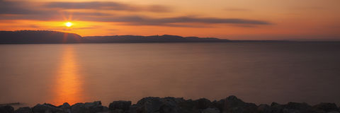 Sjö Pepin Sunrise Arkivbilder