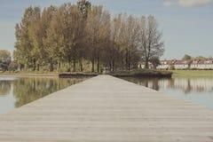Sjö Pier Leads till skogen och hus Arkivbilder