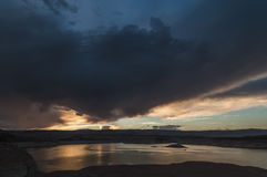 Sjö Powell på det solnedgångUtah landskapet Royaltyfri Foto