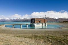 Sjö Pukaki, hydrokraftverk, Nya Zeeland arkivbild