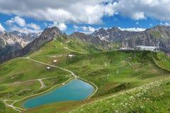Sjö Riezler Alpsee på Kanzelwandbahnen Fotografering för Bildbyråer