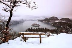Sjö som blödas i vintern som blödas, Slovenien, Europa Royaltyfri Foto