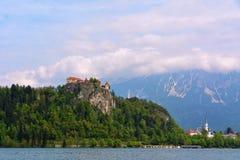 Sjö som blödas med slotten i Slovenien Fotografering för Bildbyråer