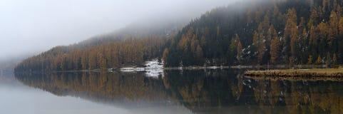 Sjö St Moritz i hösten Fotografering för Bildbyråer