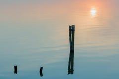 Sjö under setsun Fotografering för Bildbyråer