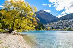 Sjö Wakatipu i Queenstown, Nya Zeeland Arkivfoto