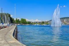 Sjö Zurich i vår Fotografering för Bildbyråer