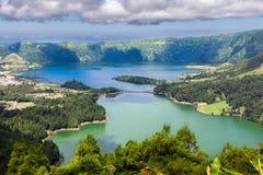 Sjöar av Sete Cidades i Sao Miguel, Azores Royaltyfri Bild