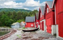 Sjöboder i Norge Fotografering för Bildbyråer
