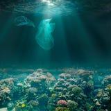 Sjöbotten som är undervattens- med plastpåsar Ekologiskt problem för miljöförorening royaltyfri foto