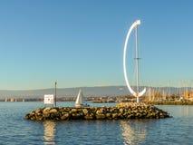 SjöGenève, Ouchy port, Lausanne, Schweiz Arkivfoton