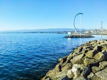 SjöGenève, Ouchy port, Lausanne, Schweiz Arkivfoto