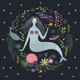 Sjöjungfru bland alger och fiskar royaltyfri illustrationer