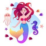 Sjöjungfru, fisk, havshäst och manet vektor illustrationer