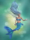 Sjöjungfru i blått Fotografering för Bildbyråer
