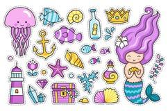 Sjöjungfru, manet, gulliga havsdjur, fisk, havsskal, fyr, ankare och sjöstjärna stock illustrationer