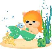 Sjöjungfru med den lilla fisken Royaltyfri Bild