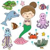 Sjöjungfru med design för tecknad film för havsdjur, illustratör Arkivbild