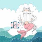 Sjöjungfru med en resväska vektor illustrationer